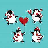 Set Of Penguins In Winter Custom For Christmas Holiday Season. Cute Cartoon Character Cute Christmas poster