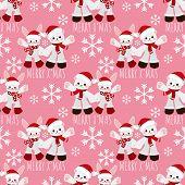 Christmas Holiday Season Seamless Pattern Of Cute Rabbit And Polar Bear With Santa Hat And Snowflake poster