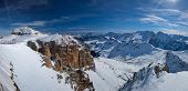 Panorama of a ski resort piste and Dolomites mountains in Italy from Passo Pordoi pass. Arabba, Ital poster
