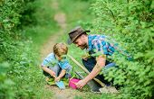 Farm Family. Little Boy And Father In Nature Background. Gardening Tools. Gardening Hobby. Dad Teach poster