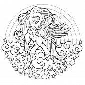Black Line Cute Rainbow Unicorn For Coloring Book Or Page. Black And White.  Beautiful Pony Princess poster