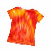 The Reverse Side Of The T-shirt In The Style Of Tie Dye Isolated On A White Background. Staining Fab poster