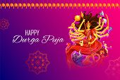 Illustration Of Goddess Durga In Happy Durga Puja Subh Navratri Indian Religious Header Banner Backg poster