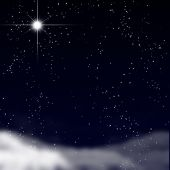 stock photo of bethlehem star  - Peaceful sky filled with stars on a dark background - JPG