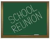 pic of reunited  - Illustration depicting a green chalkboard with a school reunion concept written on it - JPG