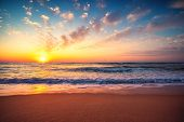 Beautiful Sunset Over The Tropical Sea. Ocean Sunrise And Beach. poster