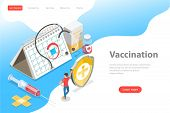 Isometric Flat Vector Landing Page Template Of Vaccination Campaign. poster