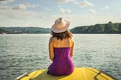 Traveler Girl Relaxing On Boat Floating On River. Young Girl Traveler Relaxing In Vacation. Traveler poster