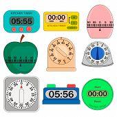 Kitchen Timer Set. Flat Illustration Of 9 Kitchen Timer Icons For Web. Flat Illustration Of Kitchen  poster