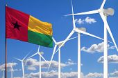 Guinea-bissau Alternative Energy, Wind Energy Industrial Concept With Windmills And Flag - Alternati poster