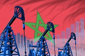 Morocco Oil And Petrol Industry Concept, Industrial Illustration On Morocco Flag Background. 3d Illu poster