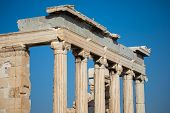 Ionic Columns Of  The Erechtheum In The Acropolis Of Athens poster
