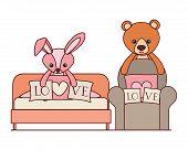 Cute Bear And Rabbit Stuffed Baby Toys In Livingroom Vector Illustration Design poster
