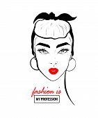 Fashion Design Sketch Woman In Style Pop Art. Glamour Woman In Black Sunglasses Red Lips. Red Mouth  poster