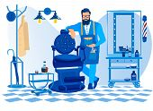 Bearded Barber Wearing Apron With Haircut Tools Waiting Client In Barbershop Stand Near Chair, Gentl poster