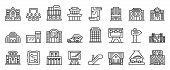 Exhibition Center Icons Set. Outline Set Of Exhibition Center Vector Icons For Web Design Isolated O poster