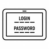 Web Bank Login Icon. Outline Web Bank Login Vector Icon For Web Design Isolated On White Background poster