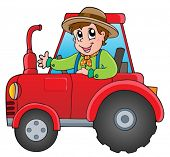stock photo of tractor  - Cartoon farmer on tractor  - JPG