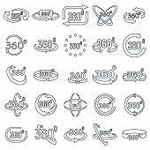 Virtual 360 Degrees Icons Set. Outline Set Of Virtual 360 Degrees Vector Icons For Web Design Isolat poster
