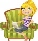 cute blond girl with a laptop in a green chair