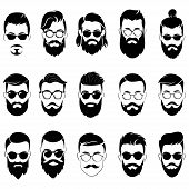 Set Of Hairstyles For Men In Glasses. Collection Of Black Silhouettes Of Hairstyles And Beards. Vect poster