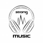 Vector Illustration On A Music Theme. Headphones Black Drawing, Strong Music. Stylish Headphone Icon poster