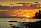 Sunshine Coast Canada Sunset. Roberts Creek Beach At Sunset On The Sunshine Coast Near Sechelt. Bc,  poster