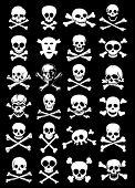 Skulls & Corssbones Vector Collection in Black Background