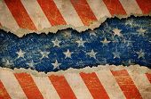 image of rip  - Grunge ripped paper USA flag pattern - JPG