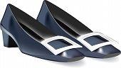 Low Feminine Elegant Shoes In Blue Color Low Feminine Elegant Shoes In Blue Color poster