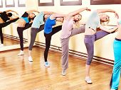 image of ballet barre  - Women group in aerobics class - JPG