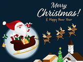 Christmas Cartoon Of Santa Claus, Reindeer, Gift Box, Christmas Tree And Merry Christmas Text. Cute  poster