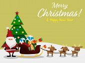 Christmas Cartoon Of Santa Claus, Reindeer, Gift Box, Christmas Tree And Merry Christmas & Happy New poster