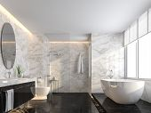 Luxury Bathroom With Black Marble Floor And White Marble Wall 3d Render,the Room Has A Clear Glass S poster