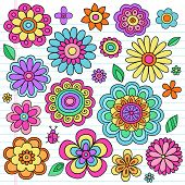 stock photo of girlie  - Flower Power Flowers and Ladybug Groovy Psychedelic Hand Drawn Notebook Doodle Design Elements Set on Lined Sketchbook Paper Background - JPG