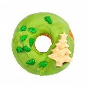 Christmas Donut With Green Icing And Sprinkles Isolated On White Background. Christmas And New Year  poster