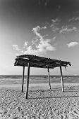 wooden canopy on the sandy beach