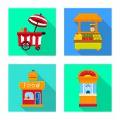 Vector Illustration Of Amusement And Store Icon. Collection Of Amusement And Urban Stock Symbol For  poster