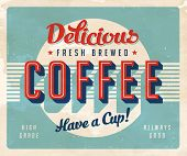 Vintage sign - Fresh Brewed Coffee - Vector EPS10. Grunge effects can be easily removed for a brand
