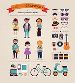 foto of beard  - Hipster info graphic concept background with icons - JPG
