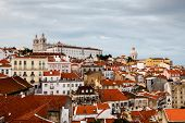 Aerial View On Alfama Quarter Of Lisbon, Portugal