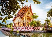 picture of sanctification  - Buddhist place of worship in Thailand in summer - JPG