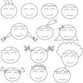 Thirteen Human (boy And Girl) Comical Faces