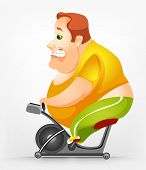 Cartoon Character Cheerful Chubby Man. Gym. Vector Illustration. EPS 10.