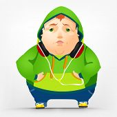 Cartoon Character Cheerful Chubby Men. Sad. Vector Illustration. EPS 10.