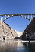 River view of Nevada's historic Hoover Dam and the newly opened bypass bridge.