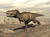 picture of tyrannosaurus  - Tyrannosaurus dinosaur running in the desert by cloudy day - JPG