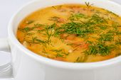 stock photo of vegetable soup  - closeup of chicken soup served in a bowl - JPG
