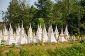 BANGKOK - DECEMBER 27: Spirit houses and shrines to embed ancestors' ashes in buddhist cemetery in B