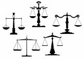 stock photo of tribunal  - Retro justice scales set isolated on white background - JPG